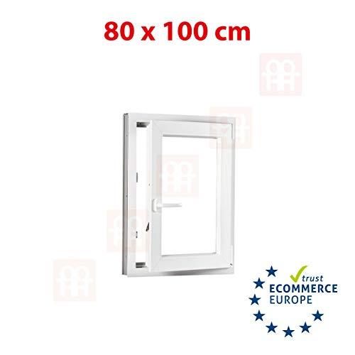 Kunststofffenster | 80x100 cm (800x1000 mm) | weiß | Dreh-Kipp-Fenster | rechts