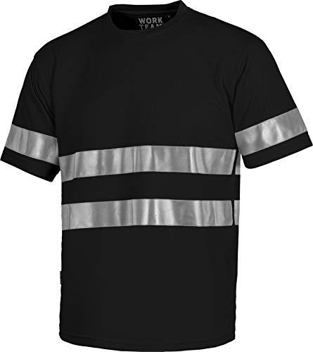 Work Team Camiseta Cuello Caja, Manga Corta, Cintas Reflectantes. Hombre Negro S
