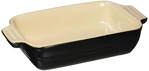 Le Creuset Rechteckige Auflaufform, 18 x 13 cm, Für 2 Portionen, Steinzeug, Schwarz