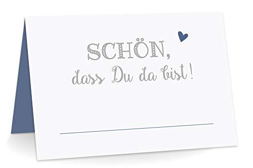 KuschelICH 50 Premium Tischkarten Schön DASS Du da Bist mit Herz blau - Platzkarten zum selbst Beschriften (Blau, 50)