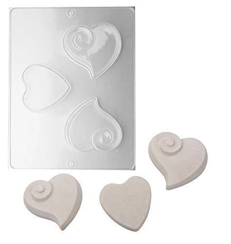 efco 9500014 - Stampi a forma di cuore, 3 pezzi, trasparenti, DIN A4