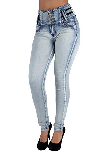 Colombian Design, Butt Lift, High Waist, Premium Skinny Jeans in Washed Light Blue Size 13