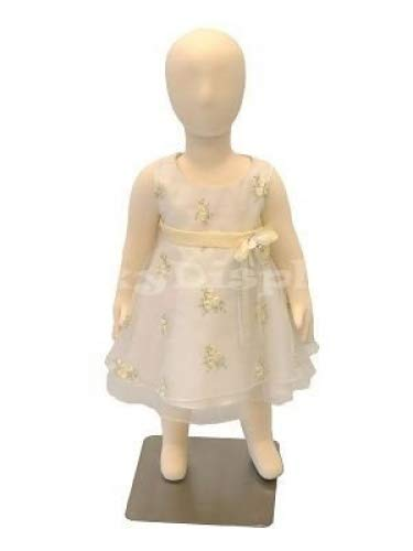(JF-CH01T) ROXYDISPLAY New Child Dress Form 1 year old white jersey form cover, with head, flexible arms, fingers & legs, metal base
