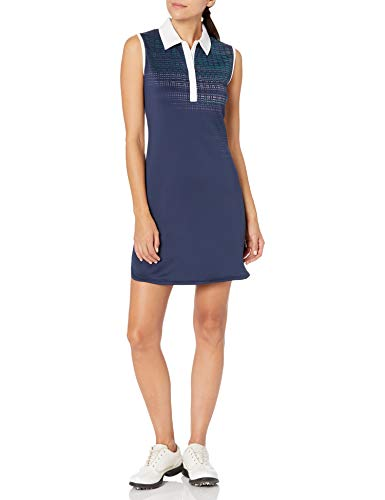 PGA TOUR Women's Sleeveless Geo Printed Golf Dress, Peacoat, X Large