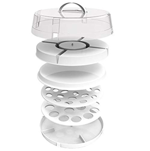 Crazy Chef Stackable Portable Food Carrier for Cakes Carrier, Cupcake Holder, Deviled Eggs, Vegetables and Dip - 4-in-1 Party Platter - Easy to Carry Plastic Storage with Lid