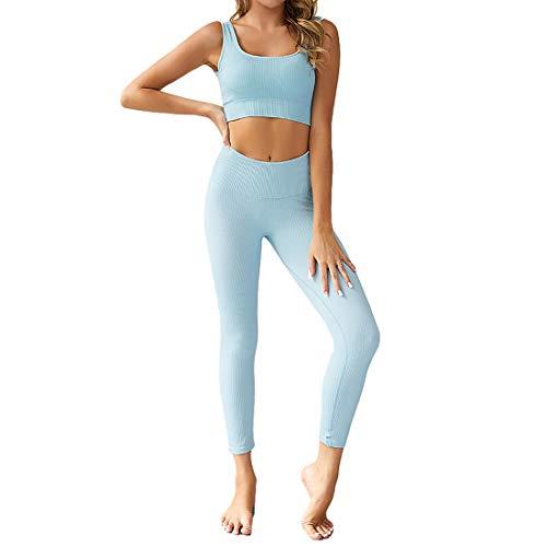GYUANLAI Damen Trainingsanzug Set Schnelltrocknende Nahtlose Activewear Sets Beauty Back Yoga Set Fitness Sportswear Sets Lauftrainingsanzüge 2-Teilig (Sport-BH Und Leggings)