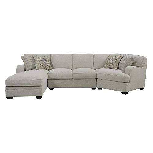 Pemberly Row Milk Toast Chofa Sectional with Track Arms in Beige