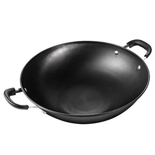 Padelle Wok Ghisa Binaural Calderone antiaderante patinata vecchio stile di maiale pentola di ferro in ghisa stufa a gas wok rotonda casseruola (Size : 38cm)