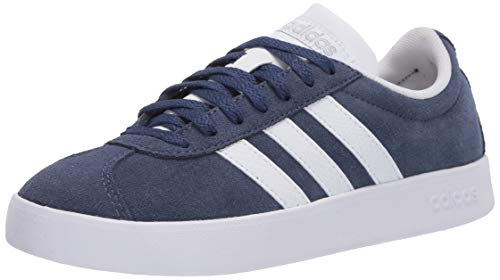 adidas Women's VL Court Skate Shoe, Tech Indigo/FTWR White/Matte Silver, 8 M US