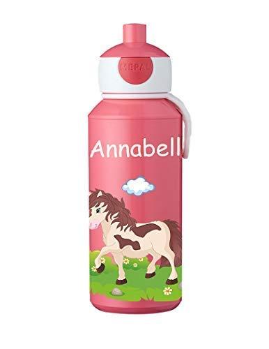 Mijn Zwergenland drinkfles Mepal Campus pop-up met de naam Rose paard