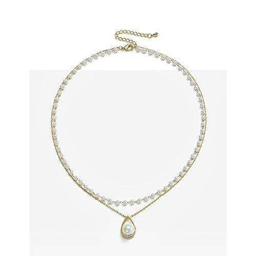 MSY S パール ネックレス レディース K18 RGP 真珠 2連 ペンダント レディース ダイヤモンドCZ 水滴 誕生日 プレゼント 女性 (ゴールド)