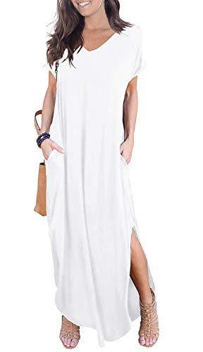 GRECERELLE Women's Casual Loose Pocket Long Dress Short Sleeve Split Maxi Dresses White-Large
