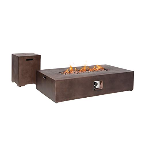 HOMPUS Propane 56-inch x 28-inch Rectangle Bronze Concrete Fire Table with Tank Cover, Lava Rocks and Rain Cover, 60,000 BTU Patio Fire Pit Table Set for Outdoor
