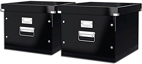 Leitz, Ablage- und Transportbox für Hängeregistratur, mit Deckel, A4, Click & Store (Schwarz | 2er Pack)