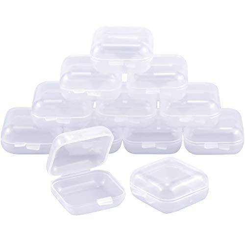 Dokpav 12pcs Cajas de plastico Transparentes pequeñas, Cajas de plastico con Tapa, Tapones Caja Protectores para oídos Case, para Pescado Ganchos,Artículos, Pastillas, Hierbas, Cuentas Pequeña