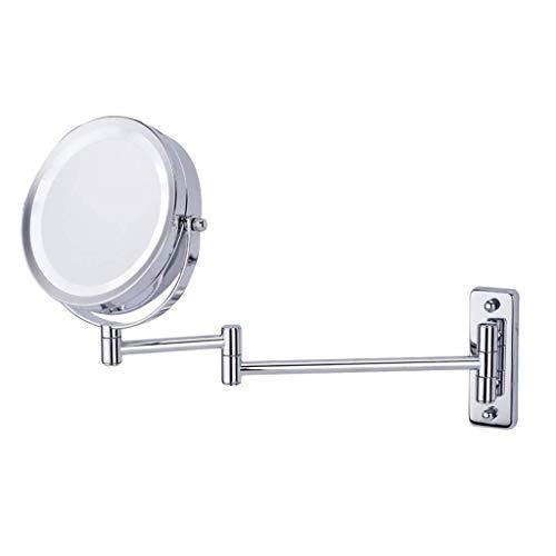 YNHNI Espejo de Maquillaje Espejo, 5 aumentos de Doble Cara de 8,5 Pulgadas de Alta definición giratoria Redonda Iluminado Ajustable montado en la Pared de Espejo,Viaje (Color : Silver)