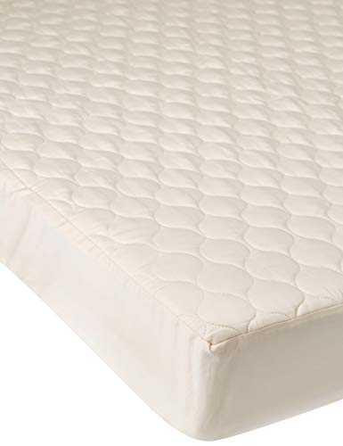 Whisper Organics 100% Organic Cotton Quilted Fitted Mattress Pad Cover (Crib Size), Breathable Mattress Protector