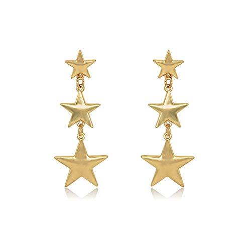 LABIUO Damen Ohrringe, Mode Vintage Böhmen Design Geometrische Ohrringe Stern Sonne Mond Hohl Metall Anhänger Ohrringe Ohrstecker(C,Einheitsgröße)