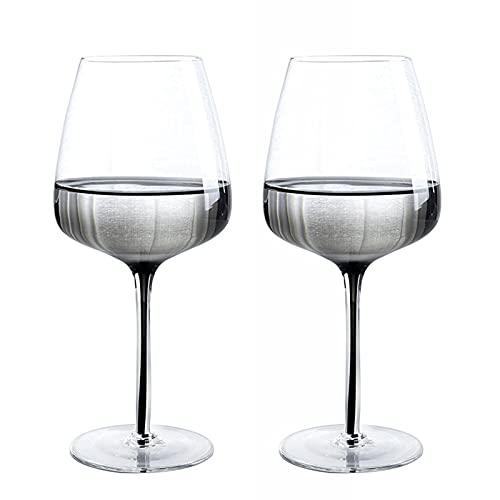 GWQDJ Conjunto De Copas De Vino Tinto De Cristal De 2, Copas De Vino De Tallo Largo para La Mejor Cata De Vinos, Día De San Valentín, Aniversario 670ml