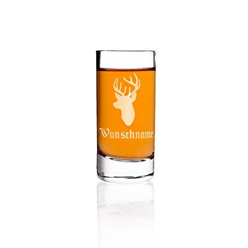 Herz & Heim® Schnapsglas mit Gravur - Hirschkopf - mit Ihrem Wunschnamen