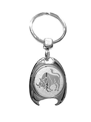 Sterrenbeeld stier motief sleutelhanger, zilverkleurig, in elegante geschenkdoos met winkelwagenchip en flesopener | Cadeau | Mannen | Vrouwen | Sport | Chip | Boodschappenschip | Opener