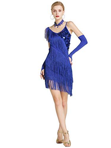 Kaiyei Femal Latin Dance kostüm mesh Pailletten quaste Latin Dancewear Kleid für Frauen Latin Salsa Ballroomdance Kleider Saphir XL