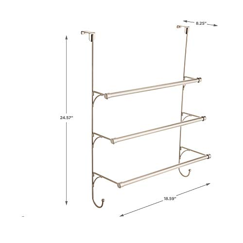 Franklin Brass 193153-FN Over the Door Triple Towel Rack with Hooks
