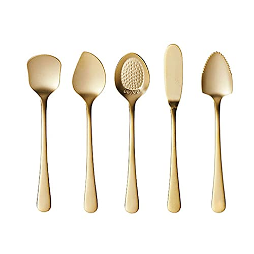 Cucharas Cucharas de café de oro 5 piezas - acero inoxidable de diseño liso diseño de cuchara de cucharada cuchara cuchara cuchara - cuchara de postre Cucharada creativa de helado Cucharas para cena