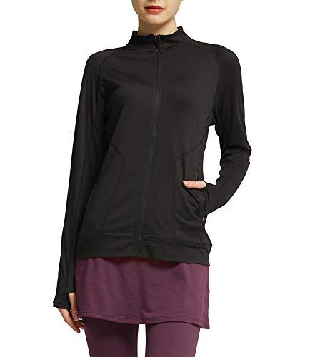 Westkun Damen Laufjacke Langarm Trainingsjacke Voll Reißverschluss Sportjacke mit Daumenloch und Seitentaschen Laufshirt Fitness Sweetshirt(Schwarz,XL)