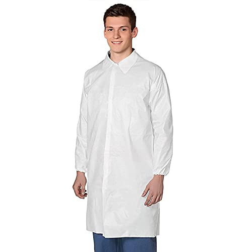 AMZ Lab Coat 43' x 55'. Adult Disposable SMS Coat. X-Large White Coat with Long Sleeves and Elastic Wrists, with Loop Fastener, No Pockets. Non-Sterile. Unisex Industrial Clothing.