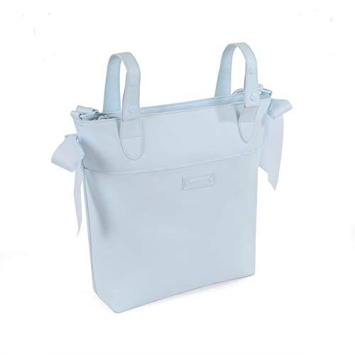 Pasito a Pasito. Bolsa Panera para Carrito de Bebé Essential. Bolsa de Maternidad. Organizador práctico de tamaño mediano y asa larga para colgar en el hombro. Color Azul. Medidas 31 X 35 X11 cm.