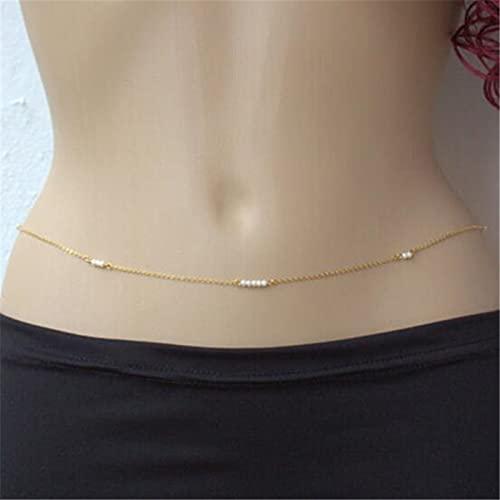 XKMY Cadena para el cuerpo de moda de bikini dorado con accesorios de perlas para mujer, bohemia, verano, playa, joyería sexy (color metálico: chapado en oro)