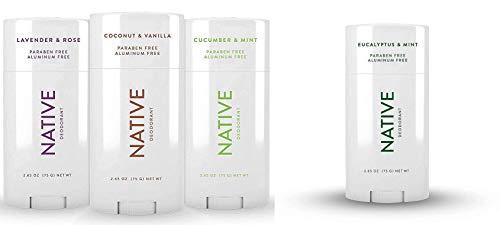 Native Deodorant - Natural Deodorant For Women and Men - 4 Pack - Aluminum Free, Free of Parabens - Contains Probiotics - Coconut & Vanilla, Lavender & Rose & Cucumber & Mint, Eucalyptus & Mint