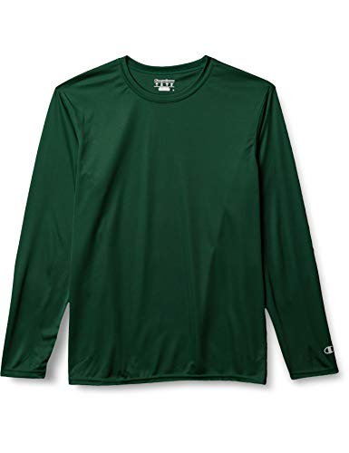 Champion Men's Long Sleeve Double Dry Performance T-Shirt, Dark Green, Small