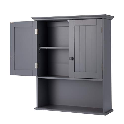 GLACER Bathroom Wall Cabinet Medicine Cabinet with Double Doors and Adjustable Shelf Wall Mounted Storage Cabinet for Bathroom Living Room Kitchen Entryway 2362 x 787 x 2776 inches Grey