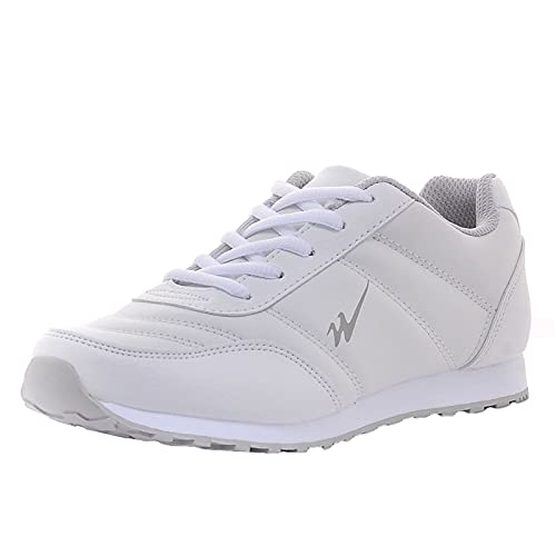Running Sneakers Hombres Mujeres Impermeable Pista Ligera Fitness Zapatos Ampliación Anti-Skid Cuero Trail Trail Transportadores,Blanco,41EU