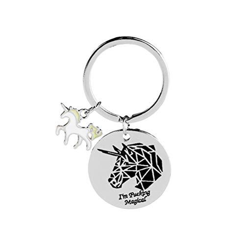 VOSAREA Llavero de metal con diseño de unicornio para llaves de coche
