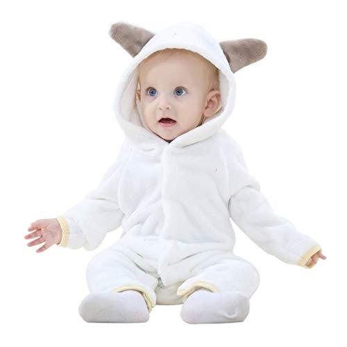 MICHLEY Bebés Ropa Oso Pelele de Niños Niñas del Otoño e Invierno Unisex Pijama Blanco-90cm