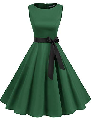 Gardenwed Gardenwed Grünes Kleid 1950er Vintage Damen Rockabilly Kleider Knielang Vintage Retro Kleider Faltenrock A-Line Partykleider Green L