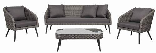 acamp Stanley Lounge Set 4-teilig Gartenmöbel, Matt Grau Meliert/Anthrazit, 192x91x58 cm
