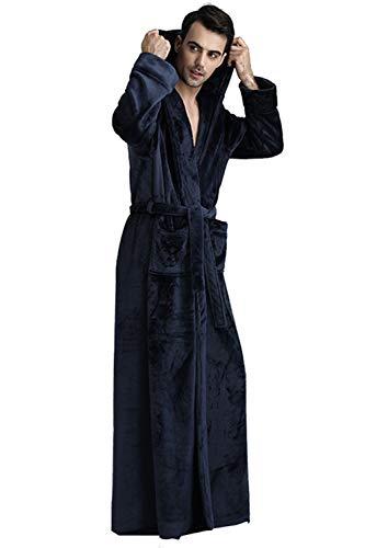 YACUN フランネル バスローブ ロング メンズ レディース 部屋着 ルーム ナイトガウン 帯巻きポケット付き パジャマ 防寒保温 秋冬 Navy XL