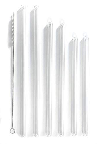 Premium Reusable Glass Drinking Straws 6 Count Multi Pack Made in the USA, Cleaning Brush & Storage Container included