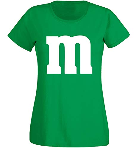 Nation - Camiseta de manga corta para mujer, cuello redondo, para carnaval, talla M, diseño de grupo verde L