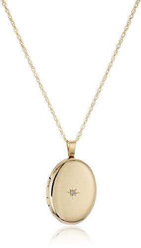14k Gold-Filled Polished Oval Pendant with Genuine Diamond Locket Necklace, 18