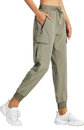 Libin Women's Cargo Joggers Lightweight Quick Dry Hiking Pants Athletic Workout Lounge Casual Outdoor, Silver Sage M