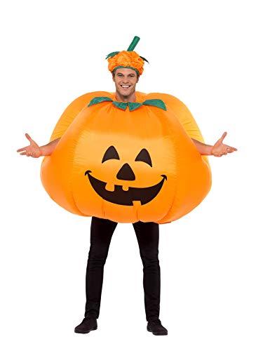 Smiffy's Smiffys-28694 Halloween Disfraz Hinchable de Calabaza, con inflador, Traje Entero y Sombrero, Color Naranja, Tamaño único 28694