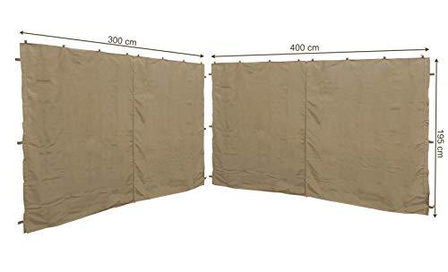 QUICK STAR 2 Pannelli Laterali con Zip 400/300x197cm per padiglioni 3x4m Parete Laterale Beige RAL 1001