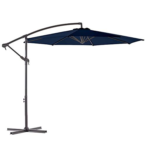 WUFF Bluu 10ft Patio Offset Umbrella Cantilever Umbrella Hanging Market Umbrella Outdoor Umbrellas with Crank & Cross Base(Navy Blue)