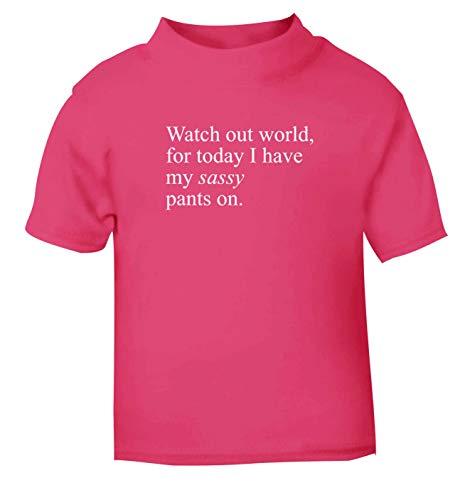 Flox Creative T-Shirt pour bébé Watch Out World Sassy Pantalon sur Nouveau-né Noir - Rose - 1-2 Ans