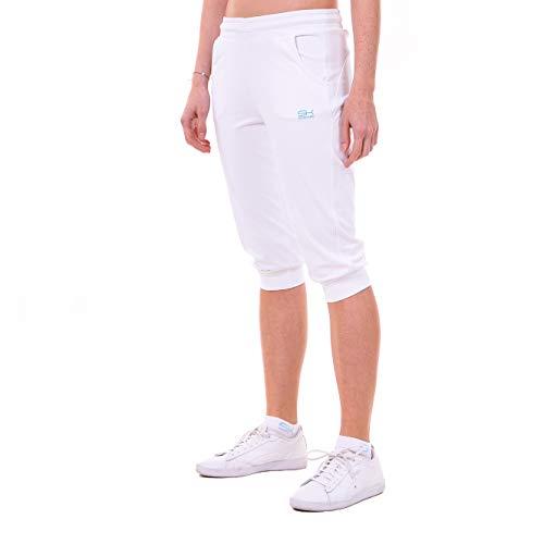 Sportkind, meisjes en dames, tennis, fitness, sport capribroek met zakken, wit, maat 152